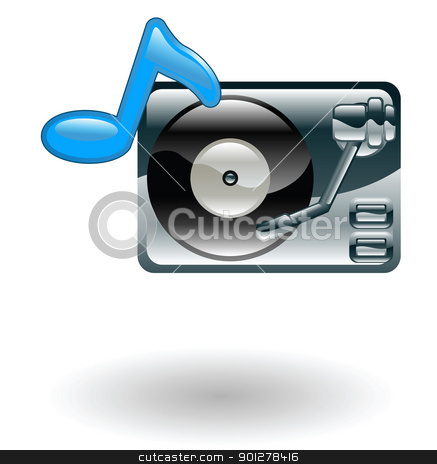 record player Illustration stock vector clipart, Illustration of a record player with music note by Christos Georghiou
