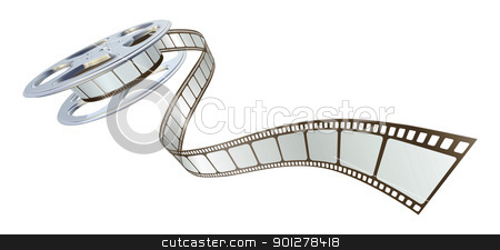 Movie film spooling out of film reel stock vector clipart, Movie film spooling out of film reel. Symbol for cinema. by Christos Georghiou