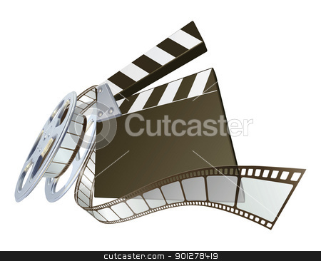 Film clapperboard with reel stock vector clipart, A film clap clapper board clapperboard illustration with dynamic perspective. Copyspace on the board for your text. by Christos Georghiou
