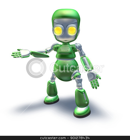 Cute green metal robot character showing stock photo, A cute green glossy shiny silver metallic robot character presenting or pointing out something by Christos Georghiou