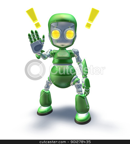 Cute green friendly robot mascot showing stock photo, Cute green friendly robot mascot character warning or cautioning with arm up in stop gesture by Christos Georghiou