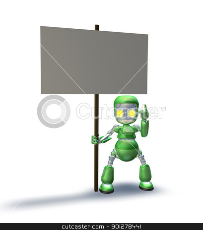 Sweet robot mascot character pointing up to placard sign stock photo, A cute sweet metal robot mascot character pointing up to a placard sign he is holding by Christos Georghiou