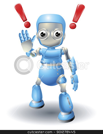 Cute robot character caution stock vector clipart, A cute blue robot character cautioning viewer with stop palm out hand gesture. by Christos Georghiou