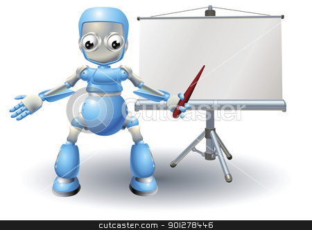 A robot mascot character presenting on roller screen stock vector clipart, Robot mascot character presenting on roller screen by Christos Georghiou