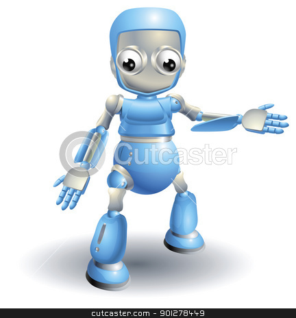 Cute robot pointing out something stock vector clipart, A cute blue robot character showing the viewer something with a hand gesture by Christos Georghiou