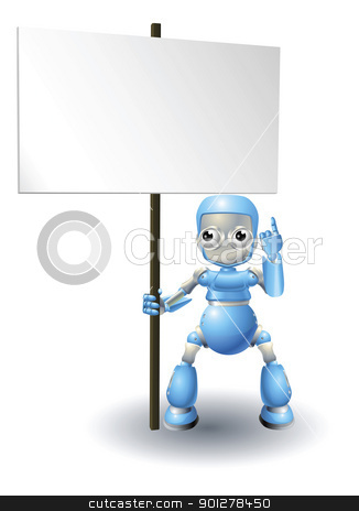 Cute robot character holding sign stock vector clipart, A cute blue robot character holding up a sign and pointing to it by Christos Georghiou