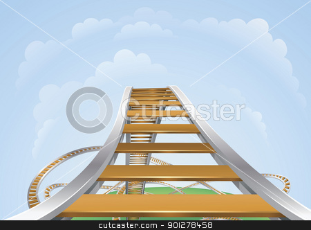 Roller coaster stock vector clipart, Illustration of a roller coaster from the highest view. Conceptual highs and lows. by Christos Georghiou
