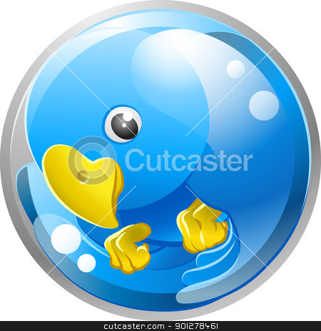 Blue bird twitter ing icon stock vector clipart, A tweet ing twitter ing blue bird icon or symbol illustration  by Christos Georghiou