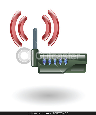 router Illustration stock vector clipart, Illustration of a router by Christos Georghiou
