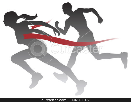 Woman winning a race stock vector clipart, A woman winning a race breaking through the finish line. by Christos Georghiou