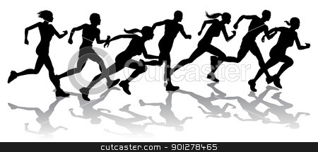 Runners racing stock vector clipart, Silhouette of a group of runners racing with reflections by Christos Georghiou