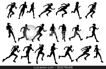 Runners running silhouettes stock vector clipart, Set of silhouettes of athletic looking male and female runners running by Christos Georghiou