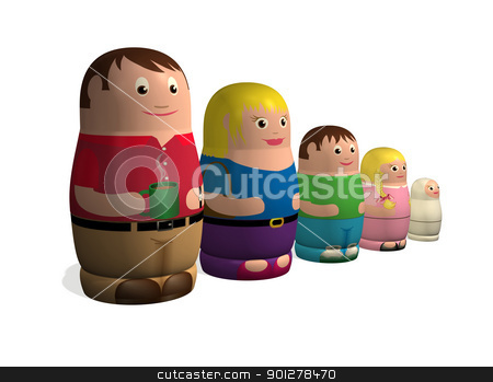 Russian doll family stock photo, An illustration of a family in the style of Russian nested Babushka or Matryoshka dolls. by Christos Georghiou