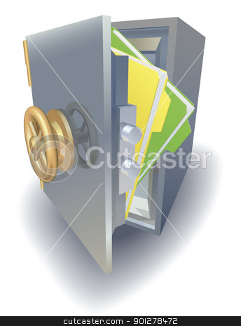 Data protection concept stock vector clipart, Data protection concept, files saftely protected in metal safe by Christos Georghiou