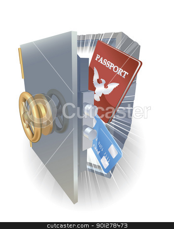 Identity protection concept. stock vector clipart, Identity protection concept. Credit card and passport in metal safe. by Christos Georghiou