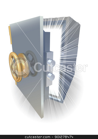 Amazing reward safe stock vector clipart, Safe opening containing something amazing by Christos Georghiou
