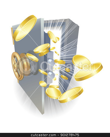 Safe with gold coins flying out stock vector clipart, Illustration of a safe with gold coins flying out by Christos Georghiou