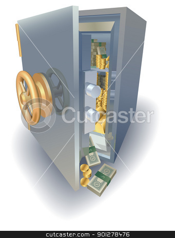 Overflowing full safe stock vector clipart, Safe overflowing full of gold and money by Christos Georghiou