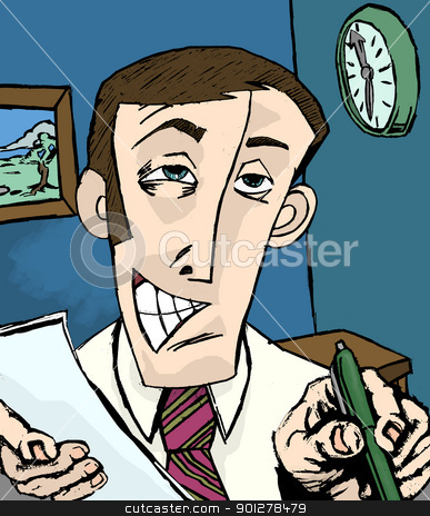 salesman illustration stock photo, A grinning man holing paper and pen  by Christos Georghiou