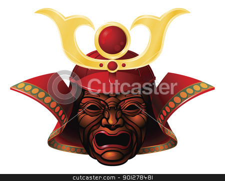 Fearsome samurai mask stock vector clipart, An illustration of a fearsome red and yellow samurai mask by Christos Georghiou