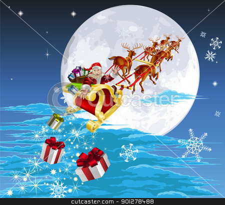 Santa in his sled stock vector clipart, Santa in his Christmas sled or sleigh, delivering his Christmas gifts to everyone by Christos Georghiou