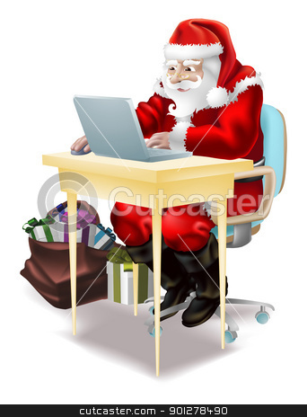Santa shops on-line! stock vector clipart, Illustration of father christmas  shopping on-line or writing his