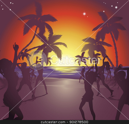 Sunset beach party illustration stock vector clipart, Illustration of dancers on the beach at sunset enjoying a party. by Christos Georghiou