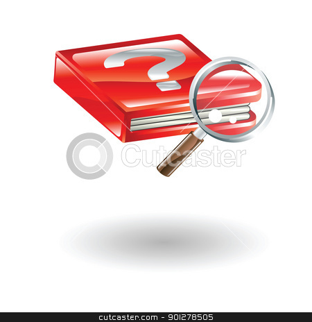 search illustration stock vector clipart, Illustration of a magnifying glass and book with question mark by Christos Georghiou