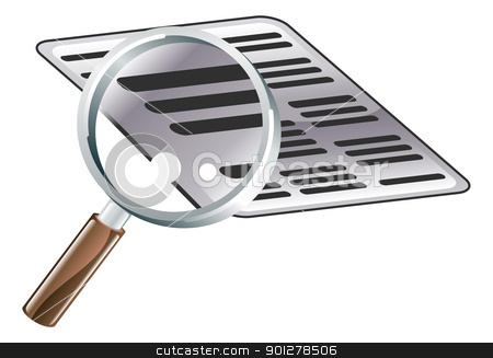 Magnifying Glass Document Search Icon Illustration stock vector clipart, An illustration of looking at a document with a magnifying glass. Icon could symbolise searching or examining files or documents   by Christos Georghiou