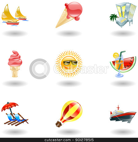 Shiny summer icons stock vector clipart, A set of glossy sunny summer icons  by Christos Georghiou