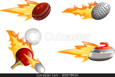 Glossy shiny flame sport icons stock vector clipart, A glossy shiny sport icon set with flames and fire. Golf ball, cricket ball, ping pong bat and ball and curling stone flying fast through the air with flames and fire jetting out the back  by Christos Georghiou