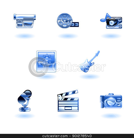 Shiny Media Icons stock vector clipart, A set of shiny glossy media icons by Christos Georghiou