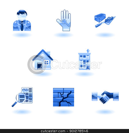 Blue Shiny Real Estate Icons stock vector clipart, A set of shiny glossy real estate icons by Christos Georghiou