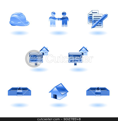 Shiny Real Estate Icons stock vector clipart, A set of shiny glossy real estate icons  by Christos Georghiou