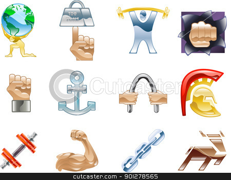 Strength Icon Set Series Design Elements stock vector clipart,  A conceptual icon set relating to strength and being strong. by Christos Georghiou