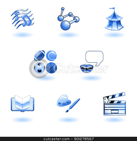 Blue glossy category education web icons stock vector clipart, a subject or category icon set eg. science, language, literature, history, music, physical education etc  by Christos Georghiou