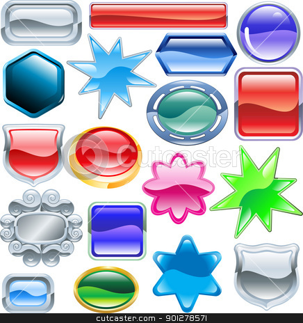 Shiny glossy web shields and backgrounds stock vector clipart, Background colourful web design elements ready for you to add messages or icons. No blends or meshes used  by Christos Georghiou
