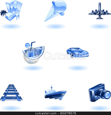 Blue travel and tourism icon set stock vector clipart, A blue travel and tourism web icon set  by Christos Georghiou