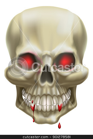 Red Eye Skull stock vector clipart, An illustration of a skull with red eyes, representing death or danger. by Christos Georghiou