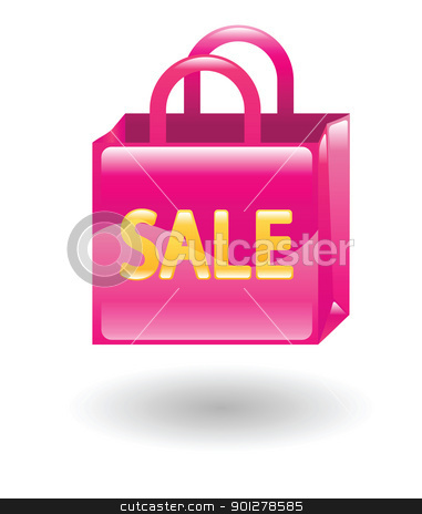 shopping bag stock vector clipart, Illustration of a pink sale shopping bag by Christos Georghiou