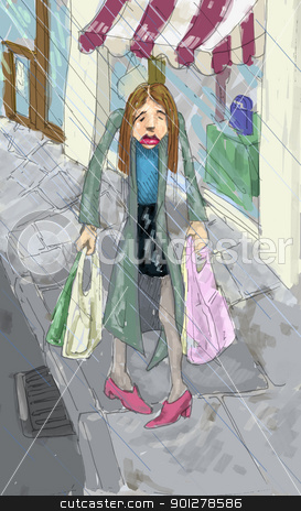 shopping in the rain illustration stock photo, A woman looking fedup shopping in the rain.  by Christos Georghiou