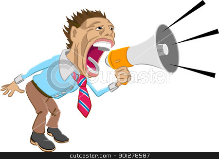 shout! stock vector clipart, A business man shouting into a megaphone  by Christos Georghiou