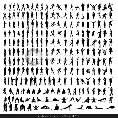 Many very detailed silhouettes including business, dancers, yoga stock vector clipart, Many very detailed silhouettes including business, dancers, yoga etc. by Christos Georghiou
