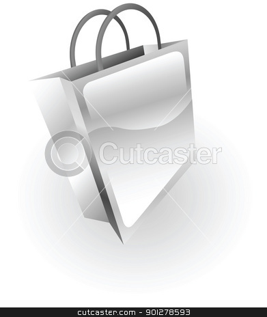 silver metallic shopping bag stock vector clipart, Illustration of a silver metallic bag by Christos Georghiou