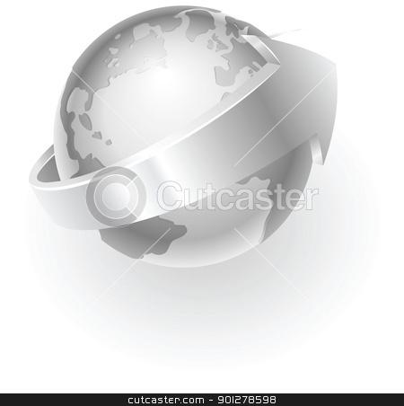silver metallic globe stock vector clipart, Illustration of a silver metallic globe with an arrow around it by Christos Georghiou