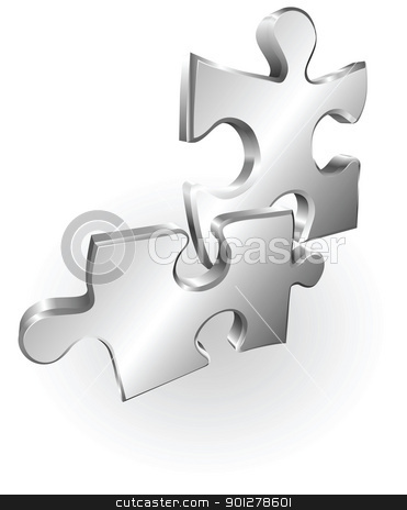 silver metallic jigsaw pieces stock vector clipart, Illustration of two silver metallic jigsaw puzzle pieces by Christos Georghiou