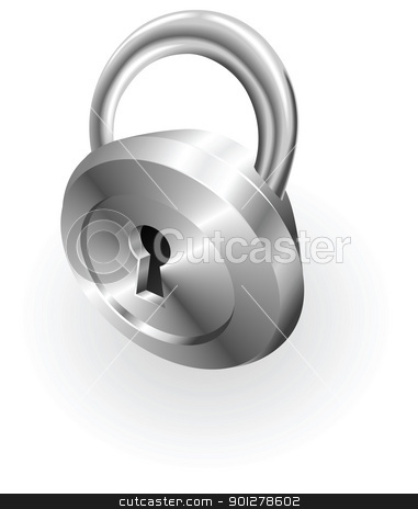 silver metallic padlock stock vector clipart, Illustration of a silver metallic lock by Christos Georghiou