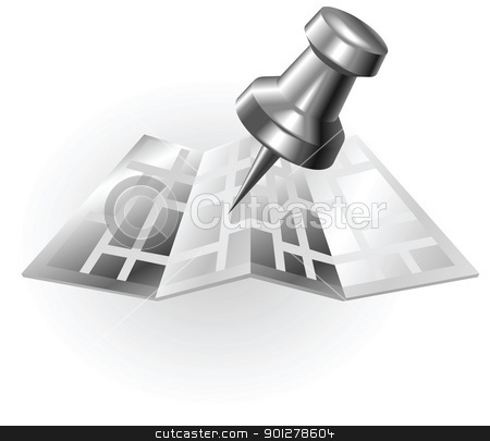 silver metallic map and pin stock vector clipart, Illustration of a silver metallic map with a tack by Christos Georghiou