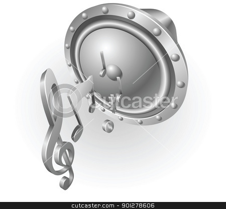 silver metallic music speaker stock vector clipart, Illustration of silver metallic music speaker and music notes by Christos Georghiou