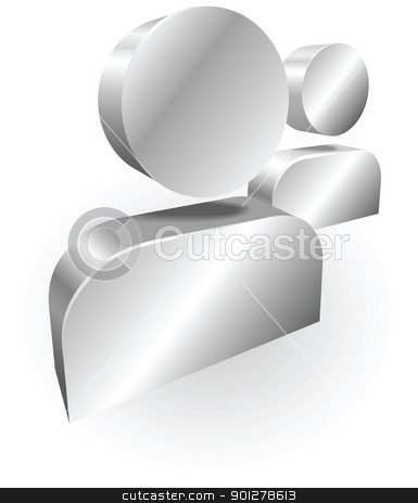 silver people icon messanger illustration stock vector clipart, Illustration of silver people icons could be used for messaging by Christos Georghiou
